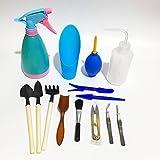 Eblue 14 Pieces Mini Garden Hand Tools Transplanting Tools Succulent Tools Miniature Planting Gardening Tool Set Kit