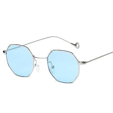 db51a4796f60 Amazon.com  Sumen Women Men Metal irregularity Frame Glasses Summer Hot  Sale Sunglasses (Blue)  Clothing