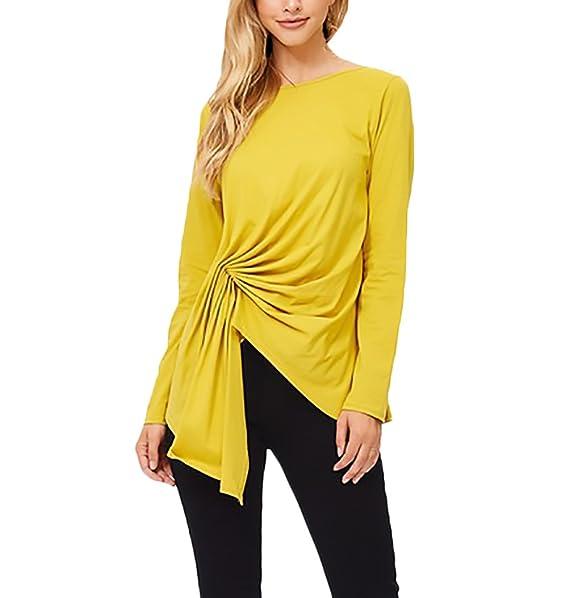 Adelina T Shirt Damen Langarm Rundhals Elegant Einfarbig Unifarben Locker  Irregular Asymetrisch Hem Basic Casual Young b5830d4603