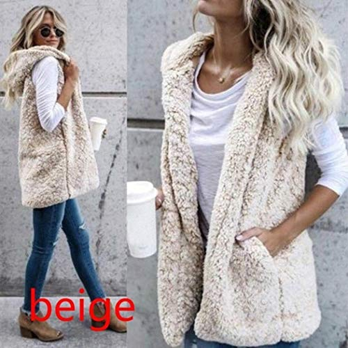 Fanala Women Casual Hooded Neck Sleeveless Solid Loose Long Cardigan Vest Down Beige - http://coolthings.us