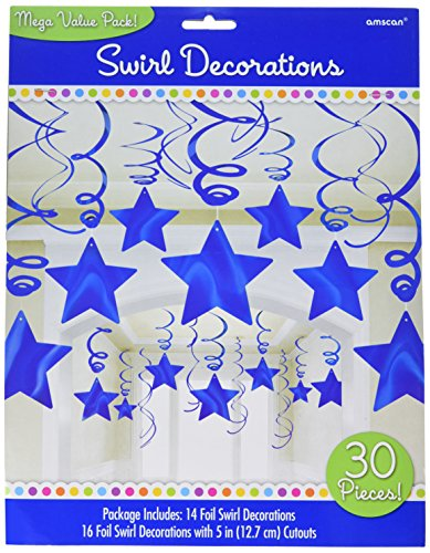 amscan Bright Shooting Star Swirl Decorations Mega Value Pack, Blue