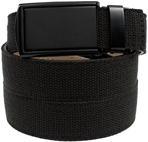 slidebelts-mens-canvas-belt-without-holes-matte-black-buckle-black-canvas-trim-to-fit-up-to-48-waist