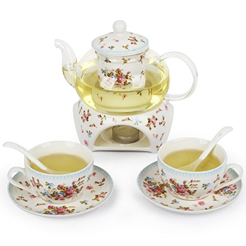 Kendal 24 oz tea maker teapot with a Porcelain warmer and 2 set of Porcelain Cup and Saucer and Spoon SI-MGHY (1-MGHY)