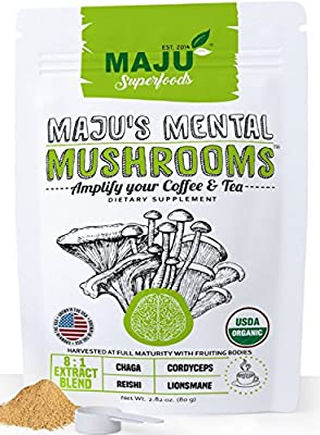 MAJU'S MENTAL MUSHROOMS, Organic 8:1 Mushroom Powder Extract Blend, Lions Mane, Cordyceps, Chaga, Reishi for Coffee/Tea/Smoothies, No Fillers, Full Spectrum with Fruiting Bodies, Proudly USA Grown