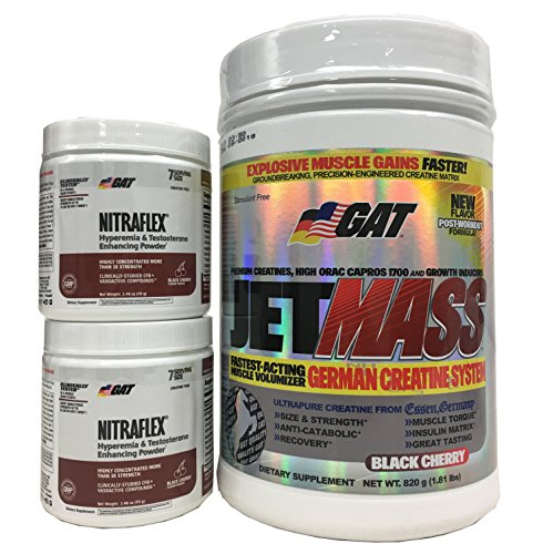 GAT Jetmass Fast-Acting Creatine Muscle Gainer, Black Cherry, 1.81lbs with Pre Workout Powder, 2 bottles of NITRAFLEX Black Cherry 7 servings Combo