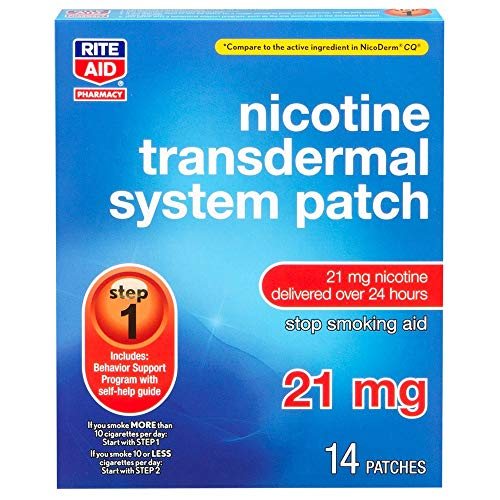 - Rite Aid Nicotine Transdermal System Patch, Step 1, 21mg - 14 ct