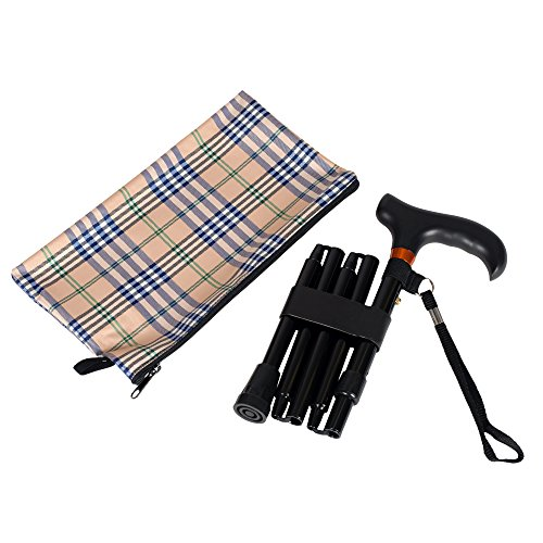 Adjustable Derby Walking Cane (Mini Folding Cane - Travel Cane - Adjustable - Black)