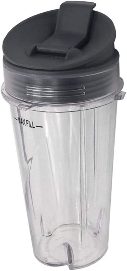 Grey 1 Pack 16-Ounce (16 oz.) Cup with Sip & Seal Lid Fit for Nutri Ninja blender series with BL660/BL663/BL663CO/BL665Q/BL771/BL773CO/BL810/BL820/BL830/QB3000/QB3000SSW/QB3004/QB3005
