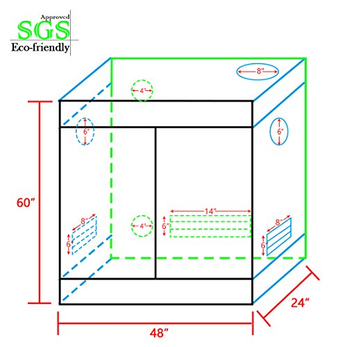 "512PHL8PyUL - Quictent SGS Approved Eco-friendly 48""x48""x78"" Reflective Mylar Hydroponic Grow Tent with Obeservation Window and waterproof Floor Tray for Indoor Plant Growing 4'x4'"