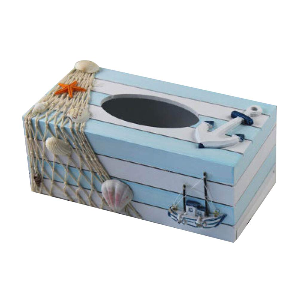 TOPBATHY Wood Tissue Box Cover Holders Mediterranean Decorative Tissue Box Coastal Beach Nautical Table Decorations Ornaments