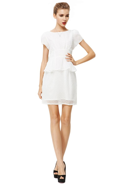 Purpura Erizo Womens Short Sleeve Polka Dot Trim Bodycon Chiffon Dress