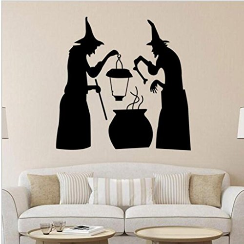 Wall Stickers,Han Shi Happy Halloween Modern Waterproof Funny Character DIY Mural Decor (M, D) -