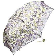 kilofly Anti-UV Folding Parasol Umbrella with Tinsel Embroidery, UPF 40+