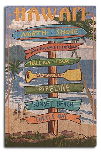 North Shore, Oahu, Hawaii - Destinations Sign (10x15 Wood Wall Sign, Wall Decor Ready to Hang) by Lantern Press