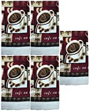 Set of 5, 100% Cotton Everyday Basic Printed Terry Kitchen Towels Size : 15'' x 25'' - Collection (Cafe)