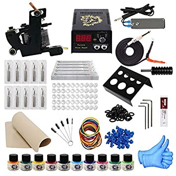 ITATOO Complete Tattoo Kit for Beginners Tattoo Power Supply Kit 10 Tattoo  Inks 30 Tattoo Needles 1...