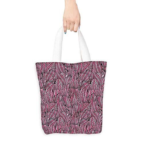- Washable tote,Pink Zebra Safari Art Pattern,Canvas Shopping Beach Cloth Tote,16.5