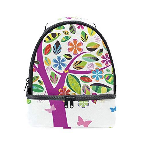 Arcoíris Ajustable con Colorido de para de Caja FOLPPLY almuerzo Aislante Escuela Árbol Nevera con Correa Pincnic Bolsa Mariposa Hombro fEZWAg