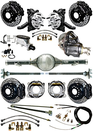 "NEW SUSPENSION & BRAKE SET WITH CURRIE REAR END & AXLES, 2 1/2"" DROP SPINDLES, POSI GEAR, BLACK WILWOOD CALIPERS, DRILLED DISCS, LINES, 1963-1970 CHEVY C10 GMC C15 2WD TRUCKS 1965 1966 1967 1968 1969 -  Southwest Speed, GMC6370X5-K13"
