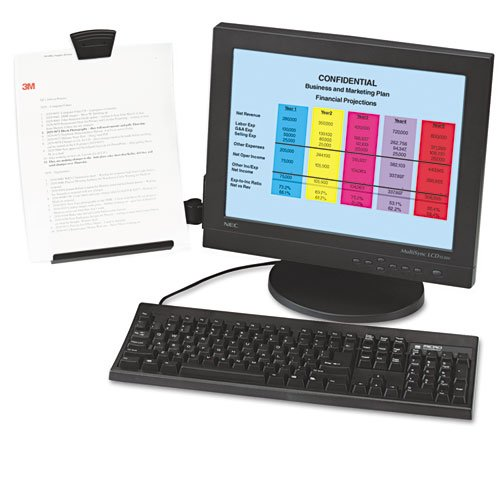 Flat Panel Lcd Document Holder - Clip Copyholder, Flat Panel Monitor Mount, Plastic, Holds 35 Sheets, Black/Clear, Sold as 1 Each