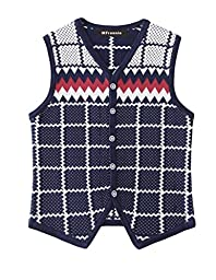 MFrannie Boys Classical Plaid Crew Neck Spring And Autumn Knitted Vest Blue01 4T