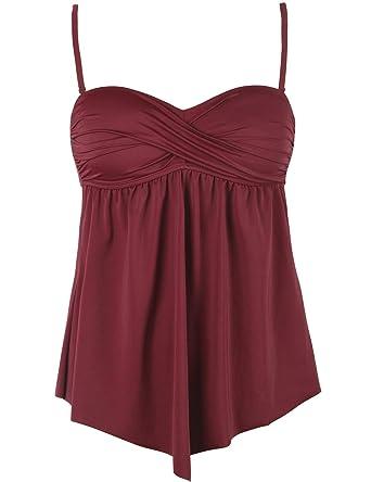 b39cb6b5de344 Firpearl Women's Swimsuits Tankini Top Black Twist Front Bathing Suit Top  S/US 4-