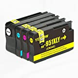 New compatible Ink Cartridges Replacement for HP 950XL HP 951XL for hp OfficeJet Pro 8100 8600 8610 8620 8625 8630 8635 8640 (1 Black, 1 Cyan, 1 Magenta, 1 Yellow) Show ink level