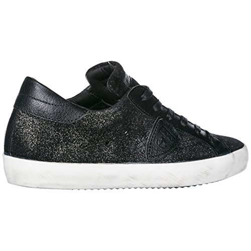 Donna Glitter Scarpe Paris Nero Nuove In Philippe Model Sneakers Pelle w8q04t