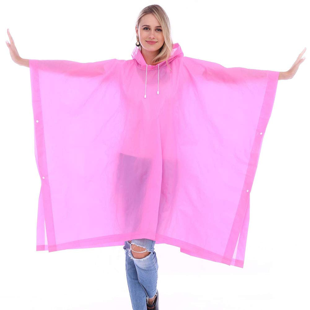 Pink 3 Packs Poncho, Emergency Waterproof Ponchos with Drawstring Hood, Portable Raincoat Perfect for Camping and Hiking(One Size, Five colors Optional)