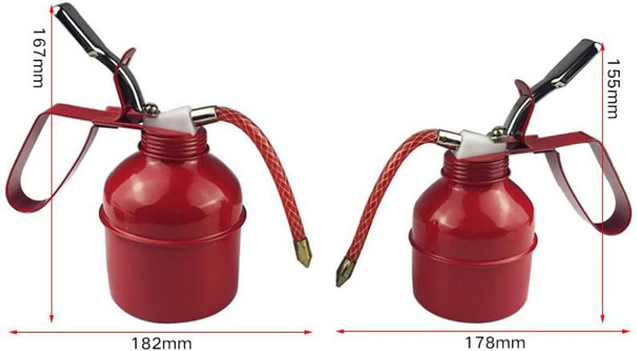 KESOTO METAL OIL CAN GARAGE PUMP ACTION METAL WITH FLEXIBLE SPOUT THUMB 500CC