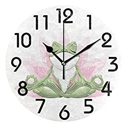 Naanle Funny Frog Doing Yoga in Lotus Flower Print Round Wall Clock, 9.5 Inch Battery Operated Quartz Analog Quiet Desk Clock for Home,Office,School