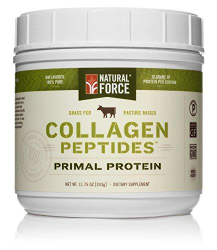Natural Force® Collagen Protein *RANKED #1 BEST COLLAGEN SUPPLEMENTS* Grass Fed Collagen Hydrolysate – Natural Collagen Peptides Paleo Protein Powder, Type I, Non-GMO, Gluten Free, 11.75 oz.
