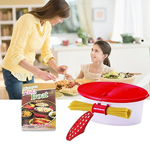 Hot Pasta Boat Heat Resistant PP Material Microwave Steamer Boat Strainer with Recipe Book, Vibrant Red, 2 Pcs | 925. 2 by Hot Pasta Boat (Image #1)