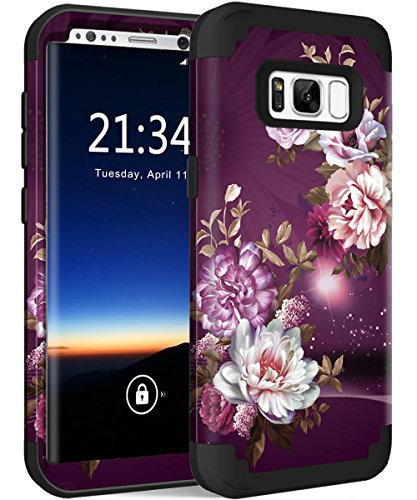 Galaxy S8 Plus Case, Hocase Heavy Duty Shock Absorbing Silicone Rubber Bumper+Hard Plastic Hybrid Dual Layer Protective Phone Case for Samsung Galaxy S8 Plus 2017 - Royal Purple/White Flowers