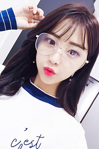 Generic South Korean star with big-framed glasses frame men and ladies oversized glasses plain mirror face-lift metal eyeglass frame retro by Generic