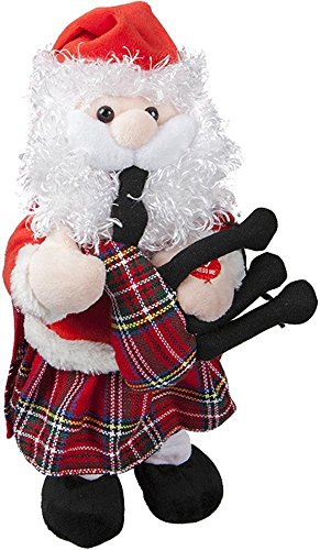 PMS 30cm Musical Dancing Santa with Kilt Bagpipes – Novelty Christmas Decorations