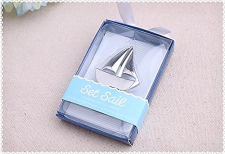 Pioneer Clan Abridor de botellas de plata de velero, regalo para invitados (5 paquetes)