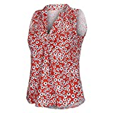 TWGONE Sleeveless Shirts for Women with Collar Down V Neck Loose Floral Printed Tank Tops Casual Blouse