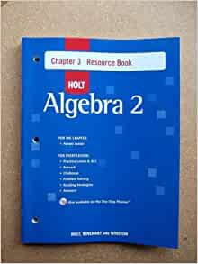 Algebra 2 chapter 3 resource book