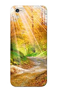 Yellowleaf Case Cover Protector Specially Made For Iphone 6 Plus Landscape Nature Golden Autumn Leaves Yellow Forest Trees Walkway Sunlight