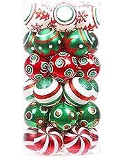 beerty Ornamentos de bola de Natal – 30 peças, pingente de árvore de Natal de 60 mm, tema de cores contrastantes, bolas brilhantes para decoração de árvore de Natal