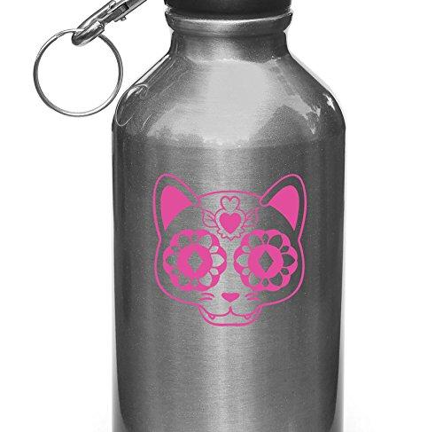 Sugar Skull Cat Kitty - Day of the Dead - Día de Muertos - Vinyl Decal for Water Bottle | Thermos | Car Gas Cap - Copyright Yadda-Yadda Design Co. (2.75