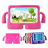 Lioeo Samsung Galaxy Tab 3 / 3 Lite 7.0 Case for Kids Rubber Shock Proof Protective Case Cover with Carry Handle for Samsung Galaxy Tab 3 /3 Lite Tablet 7 inch Screen (Hot Pink)