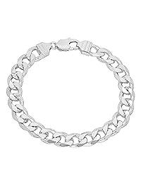 Men's 9mm Solid 925 Sterling Silver Cuban Link Curb Bracelet