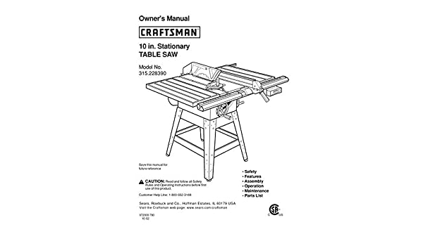 craftsman manuals table saw
