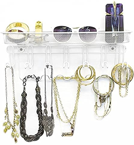 Sorbus Jewelry Organizer Holder, Mail & Key Rack, 13 Hook Wall Mounted Storage Shelf - Perfect for Jewelry, Accessories, Beauty Products, Mail, Keys, and Much More! (White And Gold Shelves)