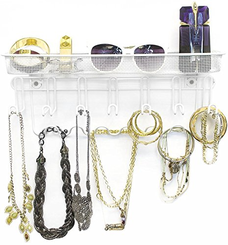 Sorbus Jewelry Organizer Holder, Mail & Key Rack, 13 Hook Wall Mounted Storage Shelf - Perfect for Jewelry, Accessories, Beauty Products, Mail, Keys, and Much More! (White)