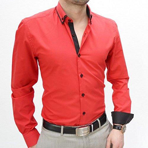 IRMAO Camisa para Hombre Rojo Slim Fit Doble Cols Rojo Rojo: Amazon.es: Ropa y accesorios