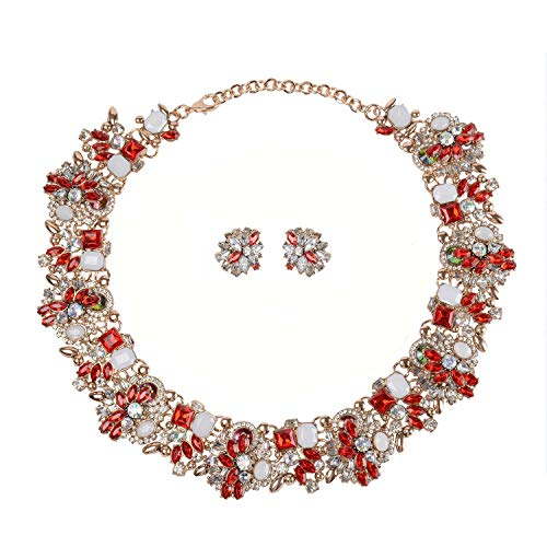 Holylove Statement Necklace Earrings for Women Jewelry Set Rhinestone Pierced Ear Studs Chain Wedding Party Festival Red 1 Set with Gift Box - 8041Red