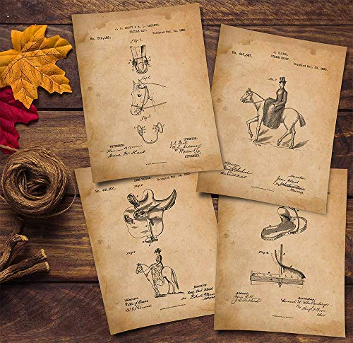 Saddle - Horse Patent Prints - Set of 4 Invention Patents for Riding Sidesaddle -horse lover gifts